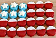 Patriotic Party Fun / Patriotic party DIY decorations, party recipes, printables and more!  Red, white and blue!