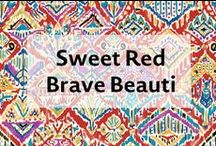"""Sweet Red Brave Beauti / Brave Beauti reflects a Native American theme inspired by strength of the warhorse. Featuring a horse symbolizing bravery and strength, the print represents what we all have inside of us, a """"Kind Heart, Brave Spirit."""""""
