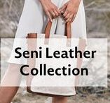 Seni Leather Collection / Seni means art in Indonesian fusing modern art with stylish silhouettes.  This collection is crafted from supple leather details that get softer with each use!