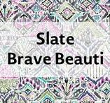 """Slate Brave Beauti / Brave Beauti reflects a Native American theme inspired by strength of the warhorse. Featuring a horse symbolizing bravery and strength, the print represents what we all have inside of us, a """"Kind Heart, Brave Spirit."""""""