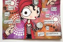 My Mixed Media / Art Journal mixed media pages, postcards, and various other projects Details on my blog here: www.sassymonstercrafts.blogspot.com