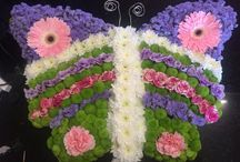 Funeral flowers / funeral flowers from teddy, butterflies, angels, horse, pint, dog, cat, music stars from designer work to a simple posy