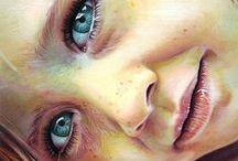 Realism:art colorful portraits ♫ ♪ ♥●•٠·˙ ☯ / dessins crayons ou peinture couleur