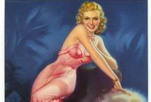 """PinUp:Pearl Alice Frush ♫ ♪ ♥●•٠·˙ ☯ / Pearl Alice Frush was an American pin-up and glamour illustration artist during the golden era of the calendar art market.she was an American pin-up and glamour illustration artist during the golden era of the calendar art market.[1][2] Pearl ranked amongst the top three female glamour artists, along with Joyce Ballantyne, and Zoë Mozert. They were a rare """"Girl's Club"""" within the predominantly male pin-up masters of mid-century illustration; Alberto Vargas, George Petty, and Gil Elvgren."""