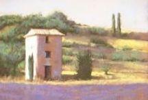 Pastel landscapes♫ ♪ ♥●•٠·˙ ☯ / pastels sur papier cendré, thème paysage
