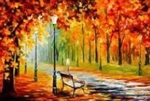 Leonid Afremov ♫ ♪ ♥●•٠·˙ ☯ / Leonid Afremov est né dans la ville de Vitebsk en 1955. C'est un peintre biélorusse Ses peintures représentent souvent des paysages, des villes ou des personnes aux couleurs très vivaces. Il utilise de la peinture à l'huile et peint au couteau.