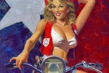 PinUp:David Uhl ♫ ♪ ♥●•٠·˙ ☯ / David Uhl is an American artist who specializes in oil paintings of vintage Harley-Davidson motorcycles and is known for his Women of Harley-Davidson collection