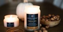 Fall & Holiday Candles / Candles and home fragrances for the fall and holiday season. Fragrance notes include pumpkin, pumpkin latte, pumpkin spice latte, chestnut & acorn, firewood fig, and orchard hayride.