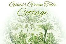 ~Gina's Green Toile Cottage~ / Green toile and transferware..hard to find, even green check....
