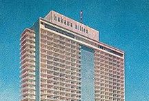 Havana Hilton Hotel / The hotel was designed by architect Welton Becket, who had previously designed the Beverly Hilton for the chain, in collaboration with the Havana-based architects Lin Arroyoand Gabriela Menéndez.  Opened on March 22, 1958 with Conrad Hilton in attendance, following four days of festivities,the Havana Hilton was Latin America's tallest and largest hotel. It boasted a Trader Vic's, as well as a casino, supper club, pool and rooftop bar.