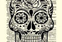 figura, skelet, lebka