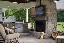 Outdoor Fireplaces / Add elegance to your outdoor living space with a Keystone Country Manor Outdoor Fireplace #Keystone #RetainingWalls #DIY #Landscape #RetainingWallSystems #HowTo #Outdoor #Fireplace