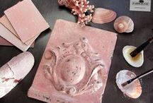 Dusky Rose Patinas / Old faded pink objects with a rich patina.