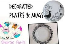 ✍ Decorated Plates & Mugs / Doodle with Sharpies or Uni posca on any of these ceramic plates/mugs then bake them at 250°F for two hours!