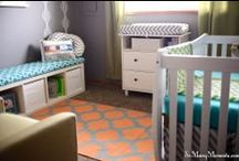 Baby A's Nursery / aqua, orange, lime nursery! We don't know it our baby will be a boy or a girl, so this fun color palette should brighten up the little room for either or! :)