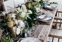 well laid table / Beautiful dishes & tablecloth.