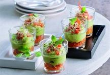 verrines / A verrine is an appetizer or an dessert made of components in different colors and textures layered in a small glass.