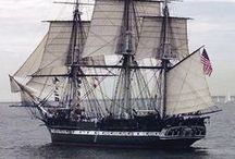 Tall ships / Sailing vessels, especially square-riggers.