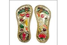Padukas for Deity | Online Store for Deity Paduka from Vedicvaani.com / Padukas are the footwear worn by sadhus and priests. These are made of wood. In ancient India, Paduka were the footwear worn by everyone. However, now religious footwear are considered to be the footwear worn by deities and Gurus. Vedic Vaani offers a variety of Deity Padukas for you to worship. These are made of wood as well as in other metals such as brass and copper. You will get beautiful Sri Paduka and Guru Paduka made of brass and copper. You can even get small Shri Paduka made of wood.