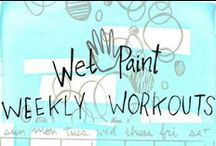"""Wet Paint Weekly Workouts / The WP Weekly Workouts are in full swing on Facebook and Flickr, but we thought we would also share the love here! Join us in a 12-week creative activity group where we explore techniques and mediums together in a Weekly Workout! All ages and levels of experience are welcome. Each Wednesday a new """"workout"""" will be posted here that details a project for you to try and a materials list to reference. Grab your favorite sketchbook and let's get to (art)work!"""