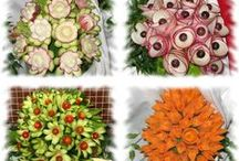 Decorate dishes with flowers from vegetables