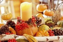 Thanksgiving & Fall Decorations / table displays, floor displays, wreaths, flower arrangements / by Therese Scribner