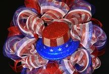 Patriotic Wreaths / A nice variety of wreaths in celebration of Memorial Day, Flag Day, 4th of July, Labor Day. Presidents Day, Veterans Day and Welcome Home Soldier(s)!!! / by Therese Scribner