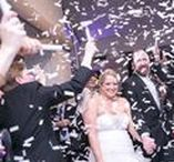 Wedding Exit Ideas / Ideas and images for wedding exits, including sparklers, bubbles, streamers, confetti, flutterfetti, and rose petals