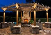 Outdoor Fireplace / The light warmth coming from a Fireplace is perfect for keeping you and your loved ones comfortable while spending the night in your yard or patio during cold evenings.