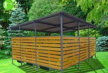 Zabudowy ogrodowe / Mała architektura ogrodowa. Zabudowy kontenerów, boksów, śmietników, koszy.