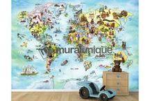 Deco Ideas for Kids Room / Idées Déco pour Chambres d'Enfants / All our murals are prepasted, easy to install, dry strippable and reusable. | Toutes nos murales sont préencollées, faciles à poser, s'enlèvent à sec et sont réutilisables.
