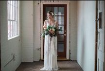Old Factory Inspiration / We are so excited to share some beautiful work by Madison Abbey Photography along with an awesome team of vendors. The way Madi captured the moody lighting in this old factory building and the antique beading details on QK6300 is simply stunning. Paired with florals by both Hana Floral Design (indoors) and KLW Design Co. (outdoors) and hair/makeup by Upstyle, this shoot will have you swooning with us! Enjoy~  http://sajawedding.com/blogs/news/103651718-old-factory-inspiration