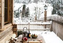 WINTER GETAWAYS / Chalets in the woods, Winter snow and everything warm and cozy .
