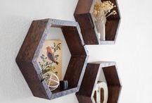 Hexagon Shelves / Hexagon Shelves made from 100% Reclaimed Wood