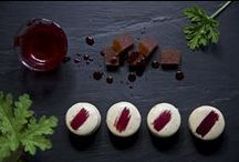 QUINCE / Macaron with Pelargonium flavored white chocolate ganache, and a quince carré in the middle.  (photo:Dionisis Andrianopoulos, Styling: Anestis Michalis, Photographer assistant: Konstantina Statha)