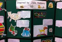 Littledean CE Primary School Author Visit Jack Trelawny / Littledean CE Primary School Author Visit Jack Trelawny. Location GL14 3NL (UK). Artwork by pupils and pirate display with skeletons!