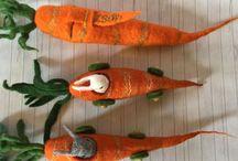Waldorf Easter / Waldorf education, Waldorf toys, preschool, kindergarten, toys, toddler, playroom, Christmas, birthday, easter bunny, rabbit, felt, wet felted carrot car, húsvét