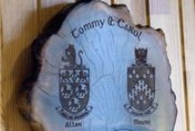 Family Crest gifts / Personalised gifts we produce using your family crest, coat of Arms, clan crest on Slate and Bog Wood
