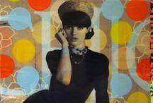 Mes créations : série Vintage / Compositions numériques, réhaussées de peinture, collage d'affiche et résine sur bois