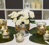 Centros de mesas con flores y velas
