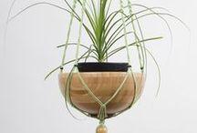 Suspension plante macramé Verte et bambou ByMadjo H 1m45 / Suspension plante macramé modèle Osiris ByMadjo. 2 étages, coton vert clair, perles beige et noir, saladier en bambou