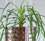 Suspension plante macramé cache pot cuivré ByMadjo / Suspension en macramé modèle Cobanos ByMadjo. 1 étage cache pot cuivré