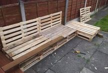 First attempt at pallet furniture (Corner sofa for garden) / Pallet corner sofa and table for the garden