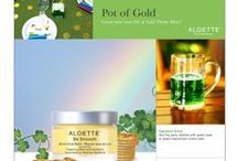 Pot of Gold Party Time / Host a Pot of Gold theme Party on March 16, 2015 with Aloette for a chance to win $250 in Skincare & Cosmetics!  aloette.biz Post a pic with hashtag #AloettePartyTime