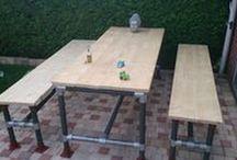 Outdoor Garden Tuin Woning - www.buiskoppelingshop.nl / DIY meubelen outdoor en tuin gemaakt van steigerbuizen en buiskoppelingen.