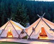 Glamping / Camp with a little extra glamour. It doesn't need to be gold and sparkly, but heck, it can be comfortable!