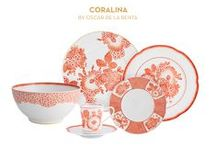 Coralina by Oscar de La Renta | Vista Alegre / Coralina is a new tableware set based on the genius of one of the most highly reputed designers of haute couture in the entire world – Oscar de la Renta.  The floral motifs inspired by a dress created for the magazine Vogue in September 2006, reflect the magnificence and elegance that the designer placed in all his creations. Decorated with a palette of warm and strong colours, Coralina reflects the passion that Oscar de la Renta felt for these natural shades.