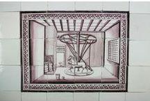 Dutch Delft tile murals / Tile murals, backsplash ideas.