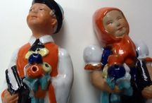 Figural Ceramics of the 1930s to 1970s / Figural Ceramics of the 1930s and 1940s were popular in lower middle class in Hungary. Its charm comes from the rough and ready design. They often depict folk scenes with earthly humor. In the 1950-1970'  folk art remained an inspiration and source of naive shapes and decors for ceramic artists such as Kis Roóz Ilona.