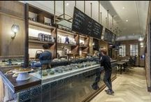 PROJECT - Burr & Co Cafe / Burr & Co Cafe Edinburgh, Scotland. Beautiful green / blue tiles on bar from with brass edge detail. Gorgeous oak panelling and cute little nooks. Stunning Cafe. A must see.